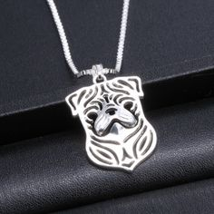 Beautiful Laser cut #Pug #Necklace. #Fashion #Jewelry #FreeShipping
