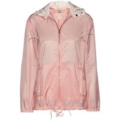 Miu Miu Hooded shell parka ($250) ❤ liked on Polyvore featuring outerwear, coats, jackets, miu miu, pink, lightweight coat, zipper coat, pink parka and pink hooded coat