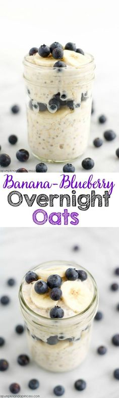 Banana-Blueberry Overnight Oats - Add Van. Shakeo? #Breakfast #MealPrep