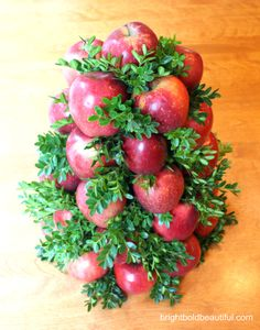 Apple and Boxwood Holiday Arrangement