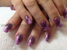 Gel Nails, Glitter Nails, Nail Art, Stamping Nail Art, Purple Nails