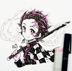 Copic Drawings, Anime Drawings Sketches, Anime Sketch, Kawaii Drawings, Cute Drawings, Anime Chibi, Kawaii Anime, Kawaii Art, Demon Slayer