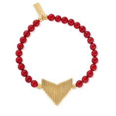 Chlobo Sun Dance Red Bamboo Coral Gold Plate Inset Arrow Head Bracelet: £80.00