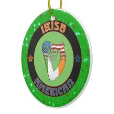 Christmas Decoration Irish American Harp Design Ornaments. For more holiday ornaments, please check out my store: www.zazzle.com/celticana*/ #ChristmasOrnaments #ChristmasDecorations #Zazzle #IrishAmerican