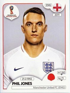 Panini Stickers Panini Football Sticker Albums FIFA World Cup Russia 2018 sticker Phil Jones - England, FIFA World Cup Russia 2018 2018 ref. World Cup Russia 2018, World Cup 2014, Fifa World Cup, England Football Players, Uefa Football, England Fans, Phil Jones, America's Cup, Sports