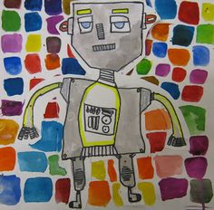 Art in the Big Green Room: 2nd grade ROBOTS. Fabulous background.