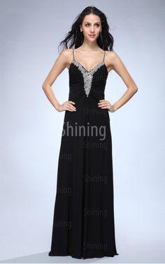 Black A-line Floor-length Spaghetti Straps Dress