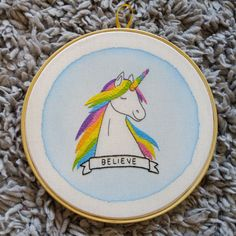 Colorful unicorn embroidery by AmaoCrafts on Etsy