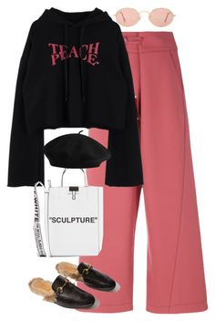 A fashion look from February 2018 featuring hoodie crop top, tailored pants and man bag. Browse and shop related looks. Hippie Outfits, Teen Fashion Outfits, Kpop Outfits, Cute Casual Outfits, Stylish Outfits, Outfit Invierno, Korean Girl Fashion, Alternative Outfits, Polyvore Outfits