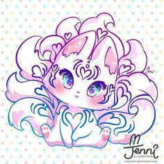 9 tails Kitsune w/ some cute heart patterns (=´∇`=) . . . #kitsune #9tails #mystic #magical #pastel #jennilustrations