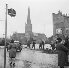 COVENTRY, ENGLAND, SPRING 1944 Coventry Cathedral, Coventry City, Coventry England, Photographs And Memories, The Blitz, World War Two, Great Britain, Great Places, Street View
