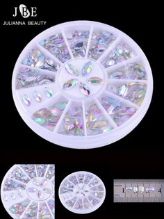 [Visit to Buy] 1 Box White Boat Nail Art Stone 3mm*6mm Size Wheel Rhinestones Beads Lovely Solid Imitation Pearl Decoration Nail Accessories #Advertisement