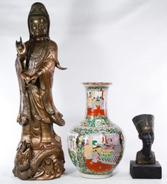Lot 168: Asian Ceramic Statue and Porcelain Vase ; Statue depicting a female standing on a dragon and vase depicting a interior family scene, marked on the underside; together with a ceramic Egyptian figure statue