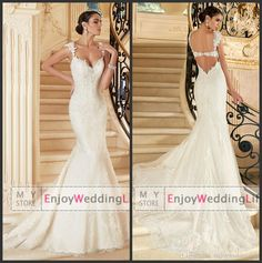 Wholesale Mermaid Wedding Dresses - Buy Elegant Sexy Cap Sleeves Lace Mermaid Wedding Dresses 2015 Tulle Lace Applique Backless Court Train Bridal Gowns V1397, $143.54   DHgate