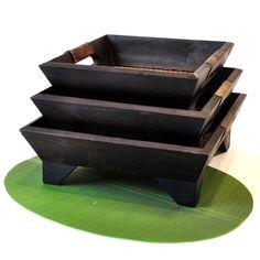Tablett Set aus Holz 3er Set dunkel 29cm