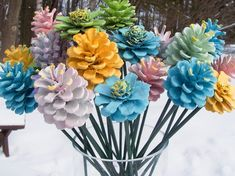 Painted Pine Cones on Wood Stems. One dozen. Bouquet, Mother's, DIY and Crafts, ONE DOZEN Pine Cone Flowers in a spring or pastel mix of colors on wood stems. Several kinds of cones. A few are cut down for unique-looking f. Pot Mason Diy, Mason Jar Crafts, Mason Jars, Valentines Bricolage, Valentines Diy, Pine Cone Decorations, Butterfly Decorations, Kegel, Spring Painting