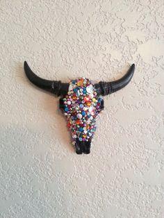 Rainbow Faux Taxidermy Decorative Cow Skull Embellished with Dazzling Swarovski Crystals on Etsy, $58.00