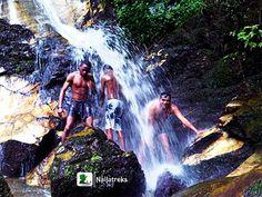 My friends and I beneath the showers of Arinta Waterfalls, Ekiti [Naijatreks]