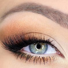 """""""MAC Vanilla pigment in the inner corner, blend Bella Pierre loose eyeshadow on the rest of the lid and on the lower lash line.  Winged long liner (w/ L'Oreal nr 01 gel liner) and smudge it with dark brown (Cocoa Bear MakeUpGeek) eyeshadow, and continue to apply this e/s in the outer V and lower lashline. Apply nude pencil to waterline and white frost e/s in the inner corners. False lashes (Miss Adoro nr 43). Brows MAC Lingering pencil."""""""