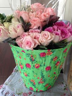 Paper mache buckets with fresh pretties.