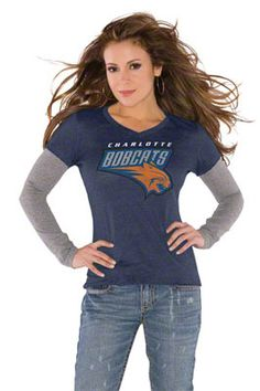 Touch by Alyssa Milano Charlotte Bobcats Primary Logo Tri Blend Long Sleeve Layered T-Shirt