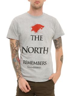 """Game Of Thrones T-shirt with a red splatter wolf sigil of the House of Stark and """"The North Remembers."""""""