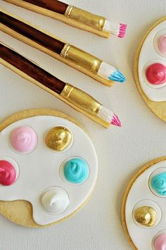 Artist Palette and Brush Cookies