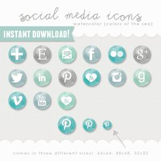 social media icons - watercolor buttons - colors of the sea (blue, green, mint) INSTANT DOWNLOAD