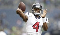 Deshaun Watson was knocked during the draft process for lacking arm strength. He made that criticism look laughable on the Texans' very first drive in Seattle. Watson found wideout Will Fulle… Houston Football Team, Deshaun Watson Clemson, Football Design, H Town, New Orleans Saints, Football Helmets, Nfl, Bring It On, Texas