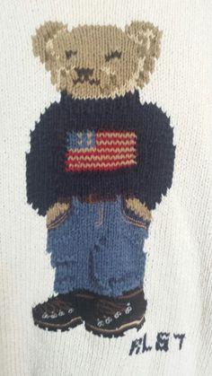 d97d15c66 POLO RALPH LAUREN VTG 90s RL 67 Teddy Bear Weekend Sweater Hand Knit L US  Flag
