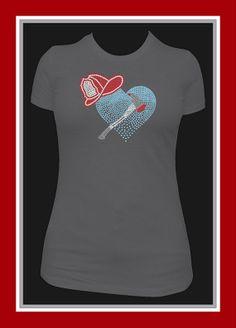 Rhinestone  Fireman TShirt  Bling Shirt by DesignsbyDaffy on Etsy, $19.95