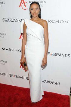 Splurge: Selita Ebanks's 2016 ACE Awards Toni Maticevski Elopement White Ruffle Back One Shoulder Gown