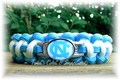 North Carolina Tar Heels Paracord Bracelet Made with an Officially Licensed NCAA Charm
