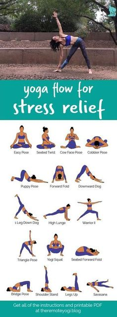 Yoga Flow For Stress Relief This printable PDF is the perfect thing to have handy when you are stressed and needing a little breather.