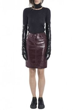 Burgundy Crinkled Vinyl Jean Skirt by Wanda Nylon - Shop it here : Precouture.com