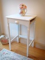 Vintage Aqua/White Accent Table with Cubby