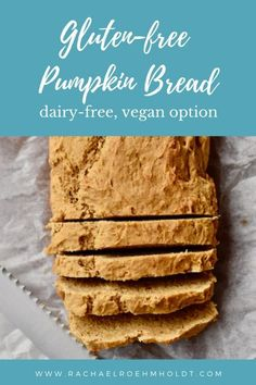 This gluten-free pumpkin bread is both dairy-free and with a vegan option. Enjoy this bread as a breakfast treat or as a snack, in the fall or year-round! Sugar Free Bread, Gluten Free Pumpkin Bread, Gluten Free Banana, Dairy Free Dips, Dairy Free Recipes, Baking Recipes, Dairy Free Thanksgiving Recipes, Paleo, Keto