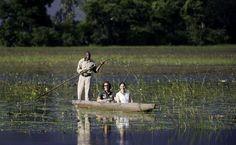 Mit dem Kanu auf der Pirsch im Okavango Delta    http://www.tripodo.de/reiseangebot/northern-highlights-deluxe/9657/