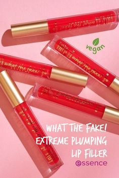 The what the fake! EXTREME PLUMPING LIP FILLER is the new secret weapon for visibly fuller lips. This extreme version creates an extra-hot tingling sensation on the lips and makes them feel super smooth. Fuller Lips, Essence Cosmetics, Lip Products, Lip Fillers, Lip Plumper, Liquid Lipstick, Weapon, Lip Balm, Lip Gloss