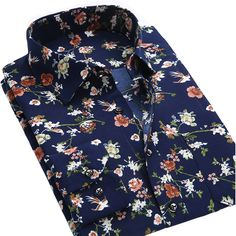 Summer New Mens Casual Shirts Fashion Long Sleeve Brand Printed Male Plus Size…