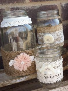 Burlap lace mason jars