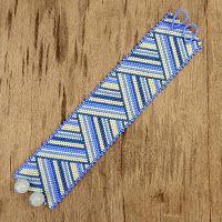 - Схемы для бисероплетения / Free bead patterns -: Схема полосатого браслета, мозаичное плетение