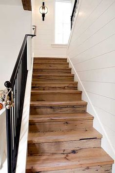 White Shiplap Walls with Wood Stairs & Black Iron Rail Style At Home, Deco Cool, Beach Cottage Style, Home Reno, House Goals, Beach Cottages, Home Fashion, Hygge, My Dream Home