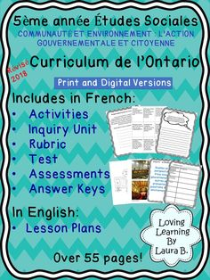 This FRENCH unit focuses on government and meets the expectations of the revised Ontario Curriculum for Grade 5 Social Studies. The unit is ideal for French Immersion classrooms. Digital and print versions are included. The resource includes an inquiry unit, task cards, rubric in English and French, pictures, activities, test, and activities. Answer keys are included. #ontariocurriculum #socialstudies #frenchimmersion Social Studies Resources, School Resources, Classroom Resources, Learning Tools, Learning Resources, Ontario Curriculum, Unit Plan, English, Rubrics