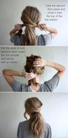 hair tutorial: messy crossover pony (truelane) I always like. Loubna Ait Hair hair tutorial: messy crossover pony (truelane) I always like the idea of wearing my hair up, but I hate feeling like w Hair Day, Mom Hair, Hair Kids, Hair Looks, Hair Lengths, Hair Inspiration, Curly Hair Styles, Long Hair Ponytail Styles, Ponytail Ideas