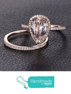 Pear Morganite Engagement Ring Bridal Set Pave Diamond Wedding 14K Rose Gold 8x12mm from the Lord of Gem Rings https://www.amazon.com/dp/B01I07X8RG/ref=hnd_sw_r_pi_dp_AFpFxbJCPWB59 #handmadeatamazon