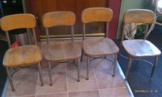4 Child HAYWOOD WAKEFIELD Wood and Metal School CHAIRS MidCentury Modern