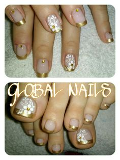 39 Fotos de Unhas decoradas com Flores Pedicure Designs, Toe Nail Designs, Acrylic Nail Designs, Acrylic Nails, Cute Toe Nails, Toe Nail Art, Pretty Nails, Fun Nails, Toenail Polish Designs
