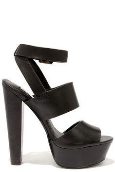 Sexy Black Heels - Platform Heels - Platform Sandals - $109.00