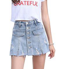 Denim Skirts, Denim Mini Skirt, Cute Skirts, Short Skirts, Denim Jeans, Beach Look, Skort, High Waist, Buttons